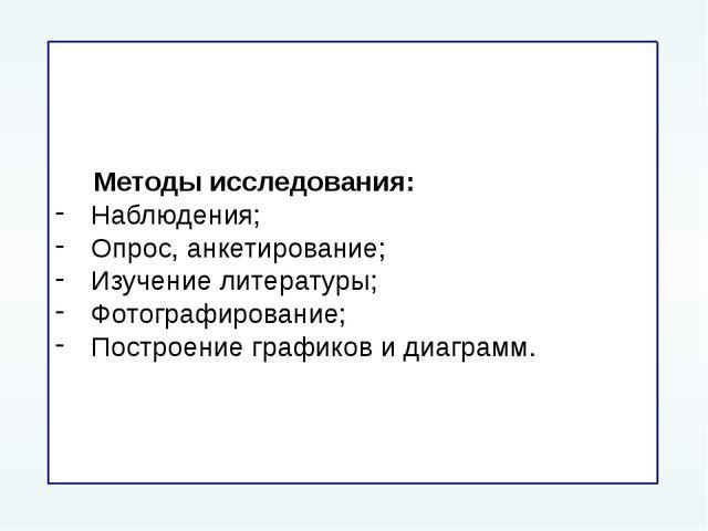Методы исследования: Наблюдения; Опрос, анкетирование; Изучение литературы;...