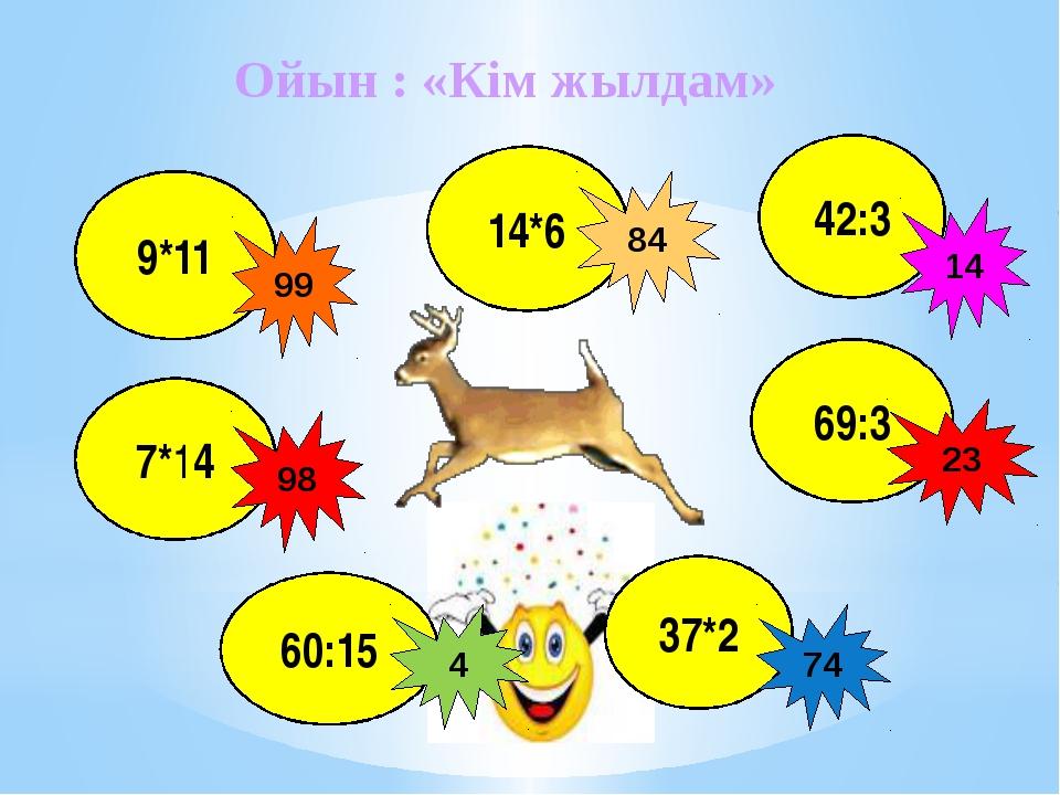 Ойын : «Кім жылдам» 9*11 69:3 7*14     98 99 23 60:15 37*2 4 74 14*6 84 4...