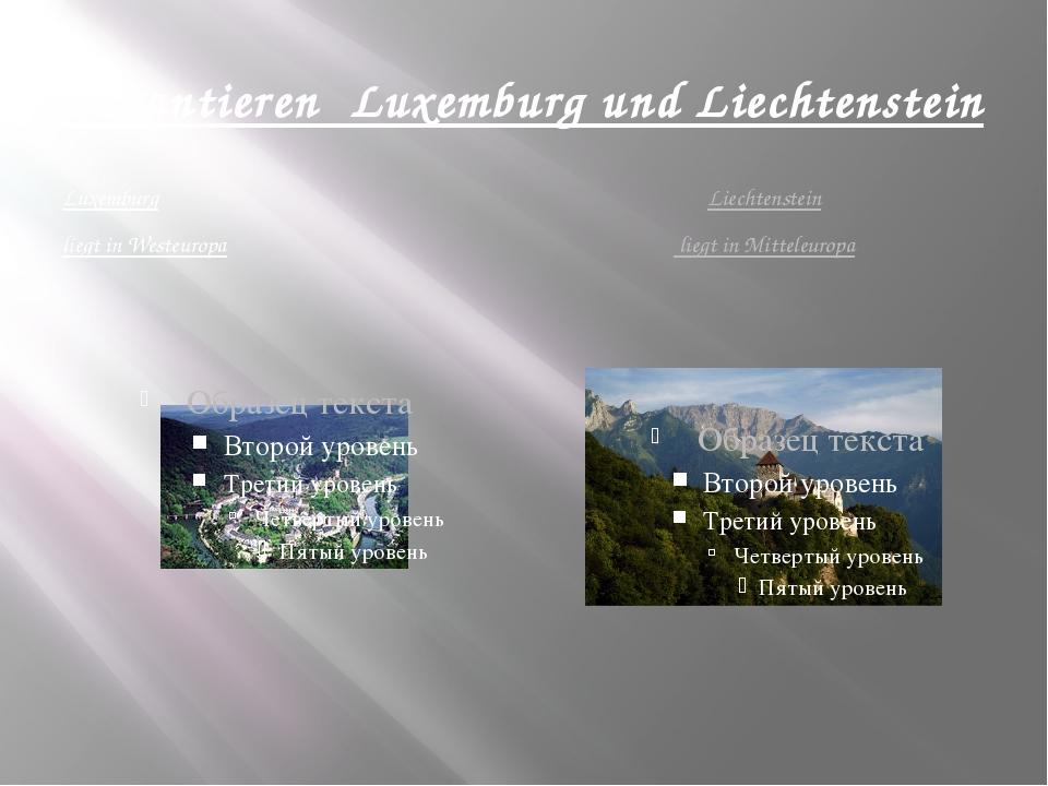 Garantieren Luxemburg und Liechtenstein Luxemburg liegt in Westeuropa Liechte...