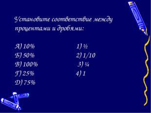 Установите соответствие между процентами и дробями: А) 10% 1) ½ Б) 50% 2) 1/