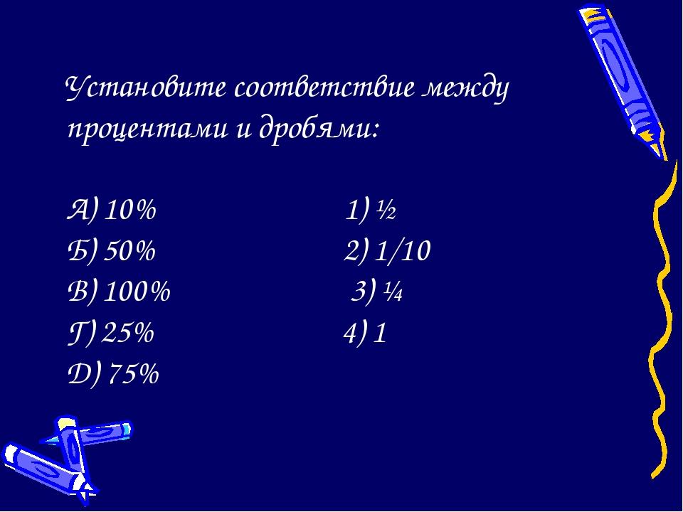 Установите соответствие между процентами и дробями: А) 10% 1) ½ Б) 50% 2) 1/...