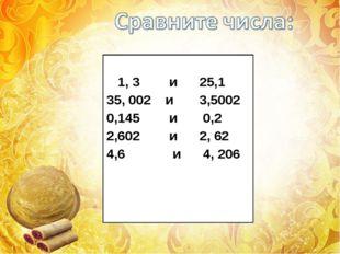 1, 3        и      25,1 35, 002    и       3,5002 0,145        и       0,2