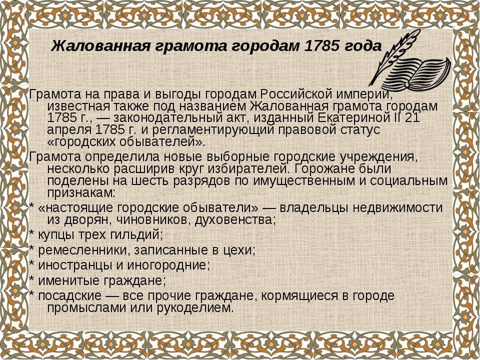 Грамота на права и выгоды городам Российской империи, известная также под наз...