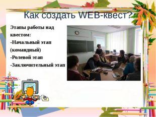 Как создать WEB-квест? Этапы работы над квестом: -Начальный этап (командный)