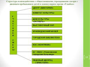 Структура взаимодействия с общественными учреждениями лагеря с дневным пребыв