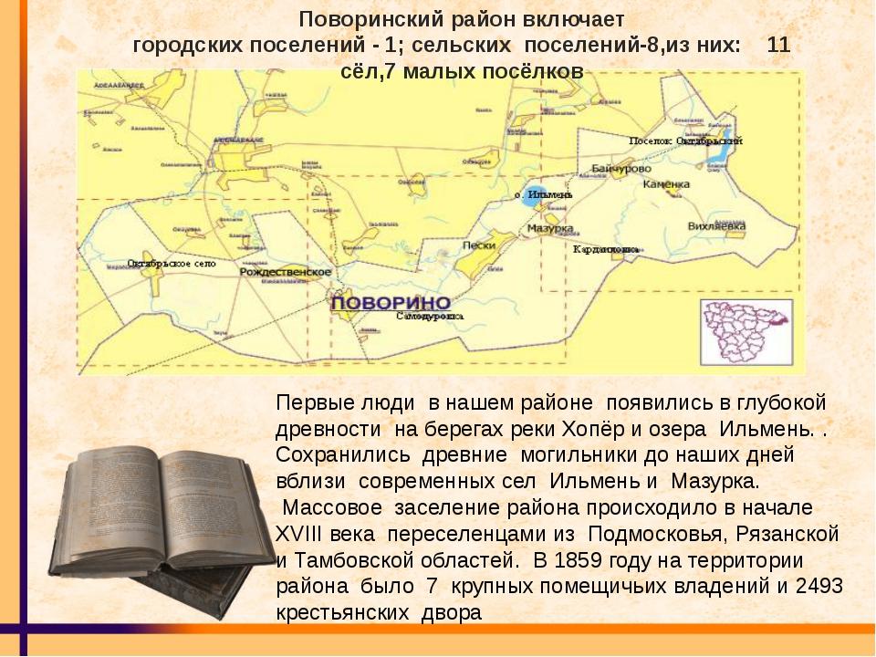 Поворинский район включает городских поселений - 1; сельских поселений-8,из н...