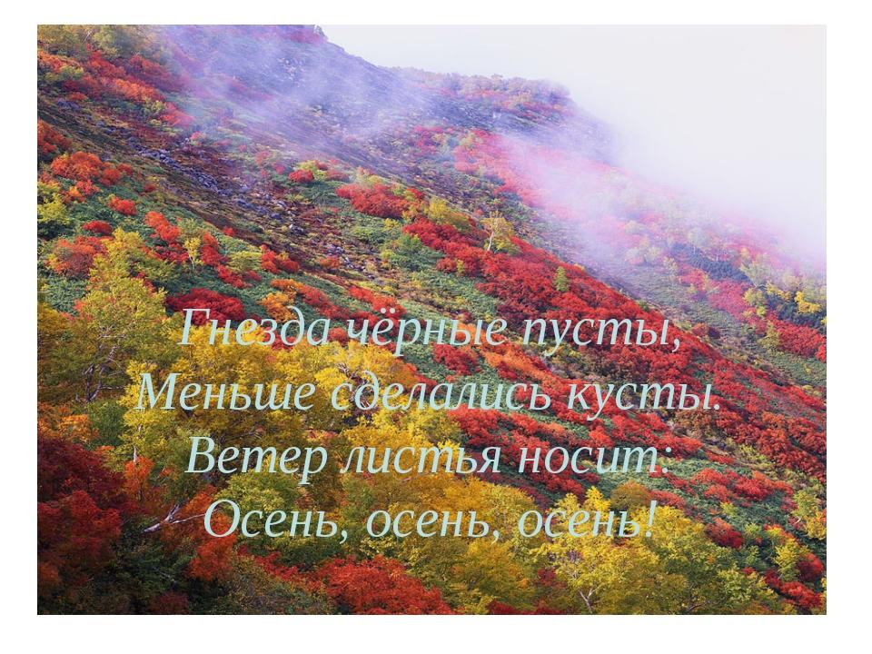 Гнезда чёрные пусты, Меньше сделались кусты. Ветер листья носит: Осень, осень...