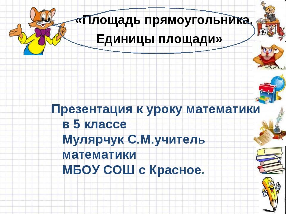 «Площадь прямоугольника. Единицы площади» Презентация к уроку математики в 5...