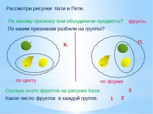 Рассмотри рисунки Кати и Пети. Сколько всего фруктов на рисунке Кати. По каки