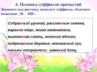 6. Полянка суффиксов причастий Собранный урожай, рассеянные семена, вареное я
