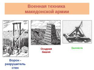 Баллиста Осадная башня Ворон - разрушитель стен Военная техника македонской а