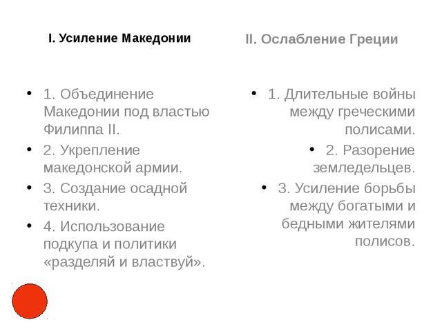 I. Усиление Македонии 1. Объединение Македонии под властью Филиппа II. 2. Укр...