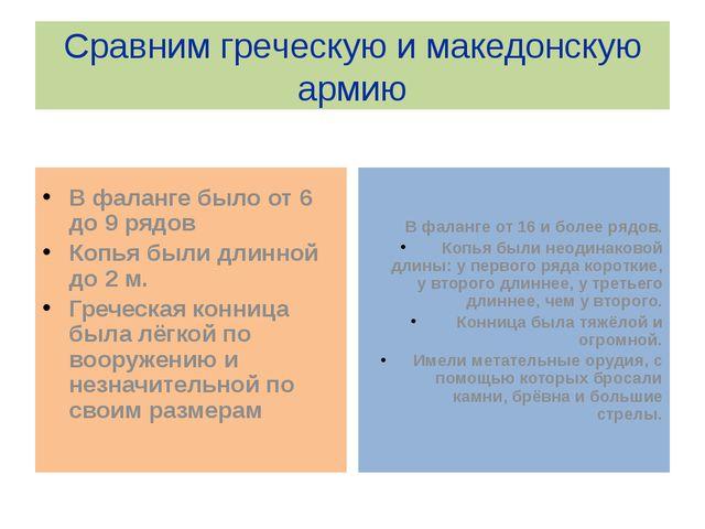 Сравним греческую и македонскую армию В фаланге было от 6 до 9 рядов Копья бы...