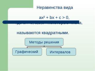 Неравенства вида ах² + bх + с > 0, где а ≠ 0, а,b,с - некоторые числа, назыв