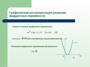 Задача 2. Решить квадратное неравенство Ситуация 1. D=0 (два совпадающих корн