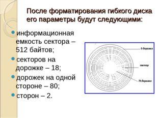 После форматирования гибкого диска его параметры будут следующими: информацио