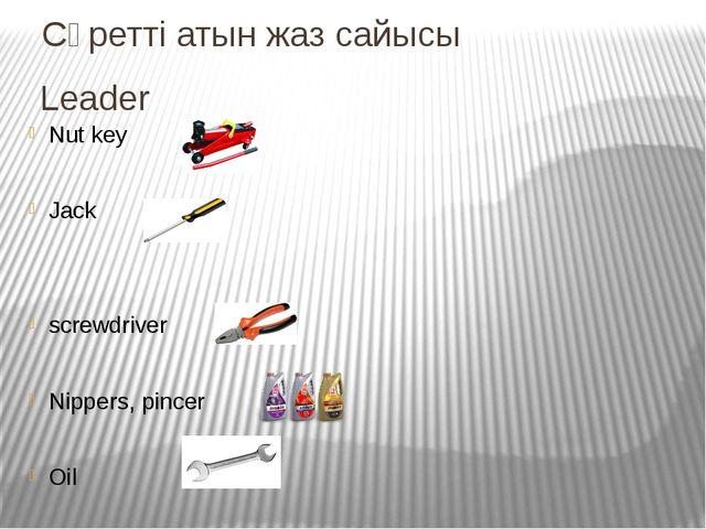 Сүретті атын жаз сайысы Leader Nut key Jack screwdriver Nippers, pincer Oil