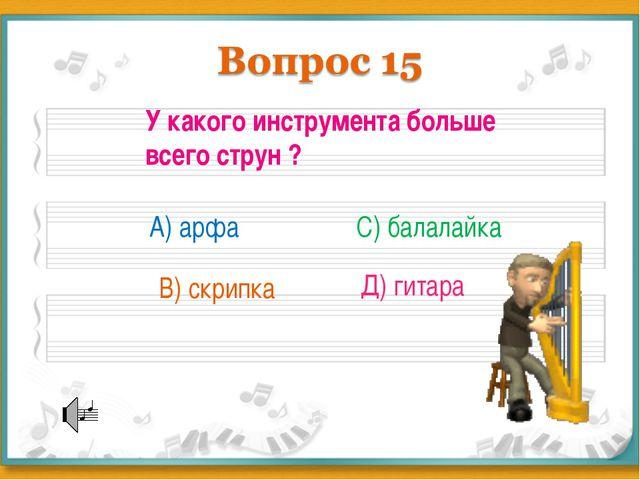 У какого инструмента больше всего струн ? А) арфа В) скрипка С) балалайка Д)...