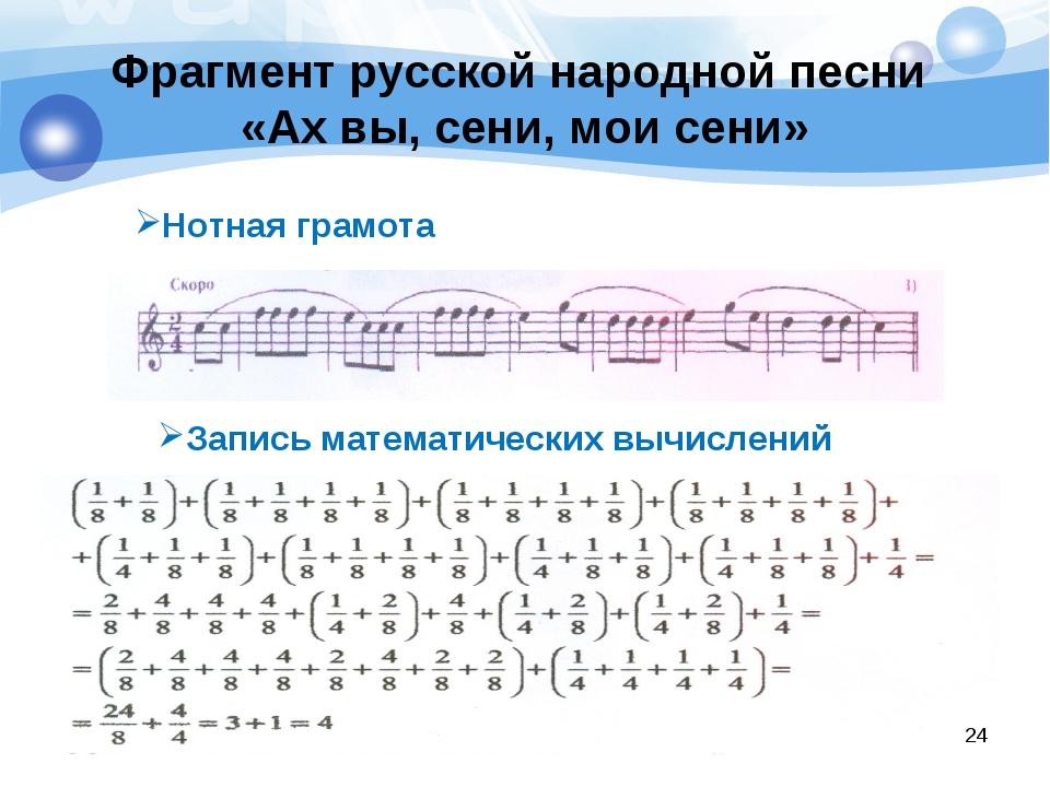 Фрагмент русской народной песни «Ах вы, сени, мои сени» Нотная грамота Запись...