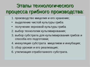 Этапы технологического процесса грибного производства: 1. производство мицели