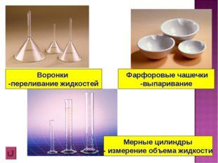 Фарфоровые чашечки -выпаривание Воронки -переливание жидкостей Мерные цилинд