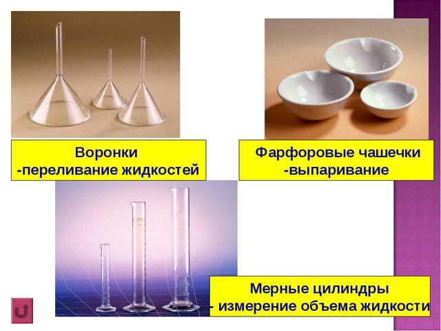 Фарфоровые чашечки -выпаривание Воронки -переливание жидкостей Мерные цилинд...