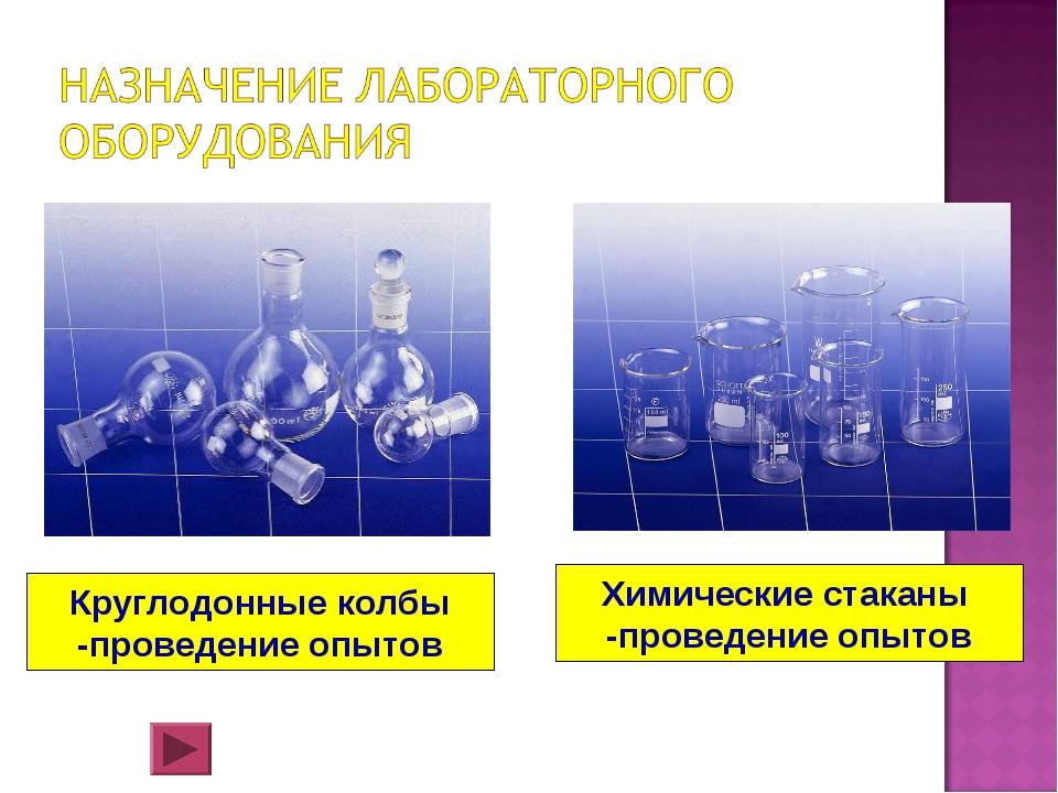 Круглодонные колбы -проведение опытов Химические стаканы -проведение опытов