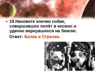 19.Назовите клички собак, совершивших полёт в космос и удачно вернувшихся на