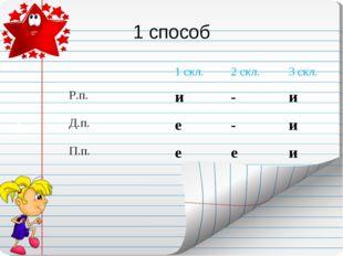 1 способ 1 скл.2 скл.3 скл. Р.п.и-и Д.п.е-и П.п.ееи
