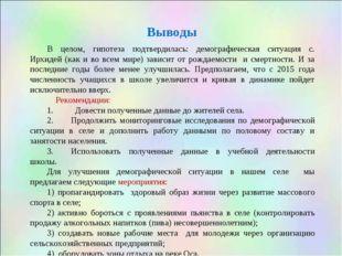 Выводы В целом, гипотеза подтвердилась: демографическая ситуация с. Ирхидей (