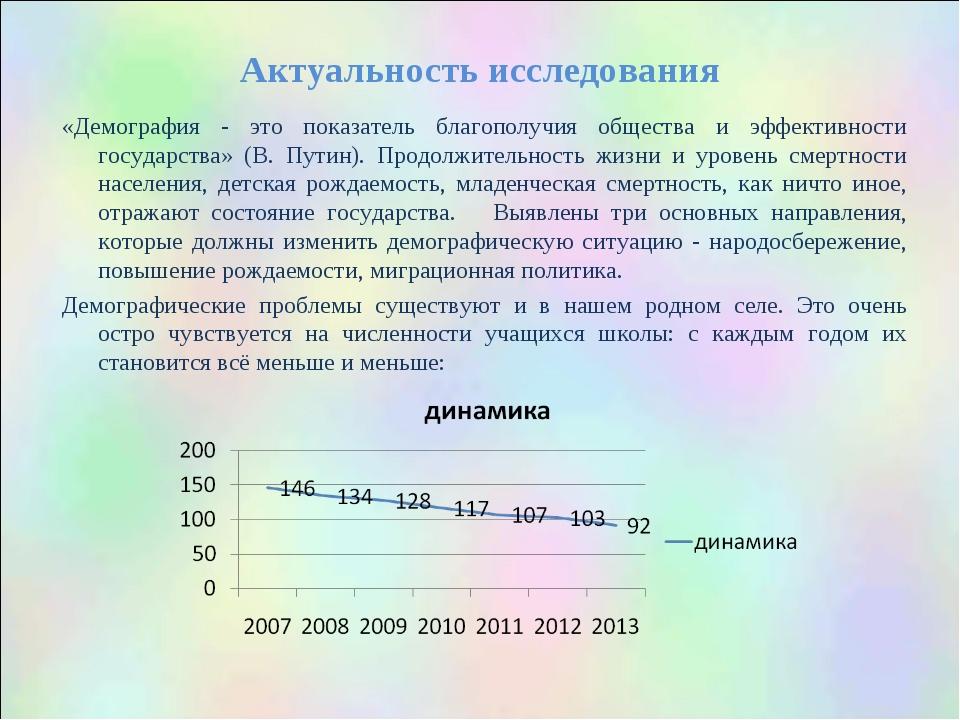 Актуальность исследования «Демография - это показатель благополучия общества...
