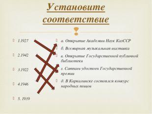 Установите соответствие 1.1927 2.1942 3.1922 4.1946 5. 1939 а. Открытие Акад