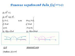 Решение неравенств вида f(x) g(x)>1: (x-3)x2-9>1, (x-3)x2-9>(x-3)0, x-3>1, или 0