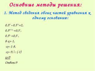 Основные методы решения: 1. Метод сведения обеих частей уравнения к одному ос