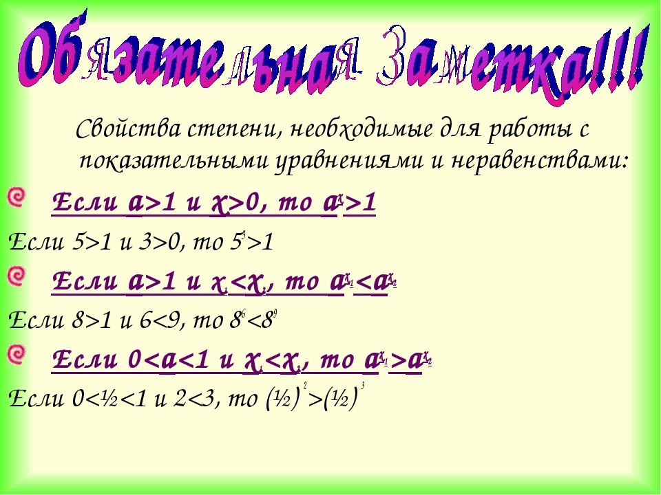 Свойства степени, необходимые для работы с показательными уравнениями и нерав...