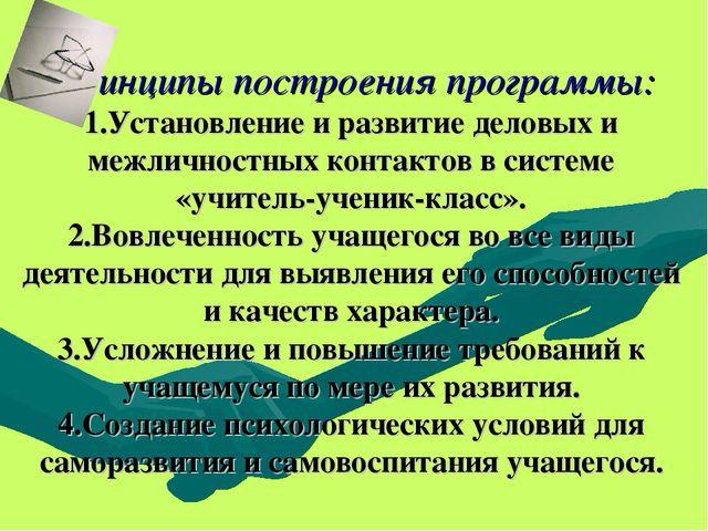 Принципы построения программы: 1.Установление и развитие деловых и межличност...