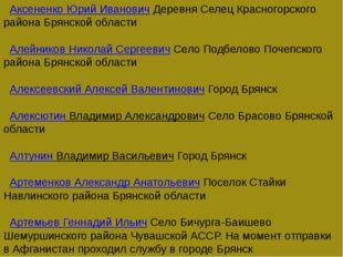 Аксененко Юрий ИвановичДеревня Селец Красногорского района Брянской облас