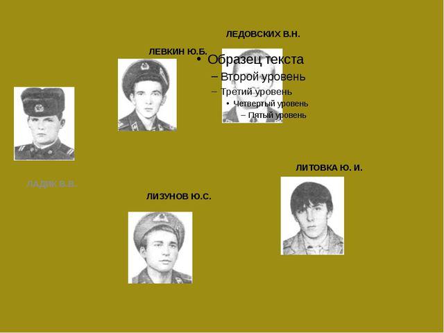 ЛЕВКИН Ю.Б. ЛАДИК В.В. ЛЕДОВСКИХ В.Н. ЛИЗУНОВ Ю.С. ЛИТОВКА Ю. И.