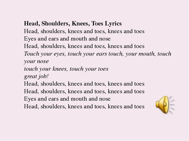 Head, Shoulders, Knees, Toes Lyrics Head, shoulders, knees and toes, knees an...