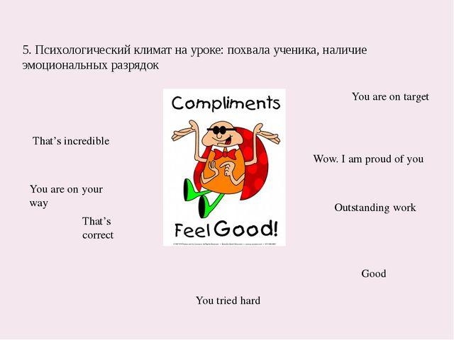5. Психологический климат на уроке: похвала ученика, наличие эмоциональных ра...