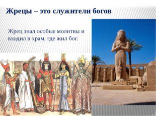 Жрецы – это служители богов Жрец знал особые молитвы и входил в храм, где жил