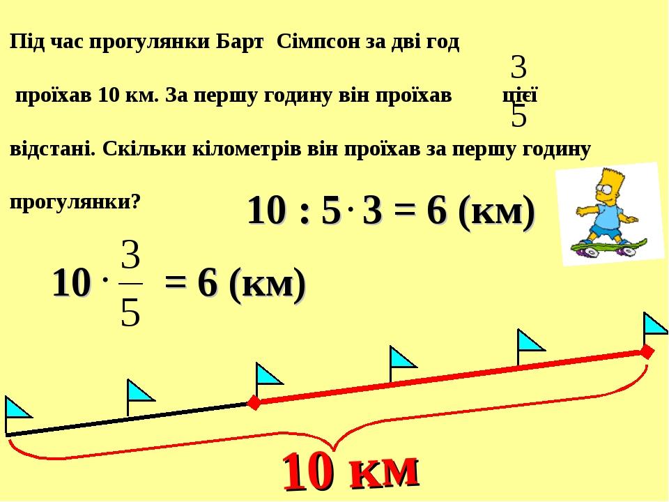 Під час прогулянки Барт Сімпсон за дві год проїхав 10 км. За першу годину він...