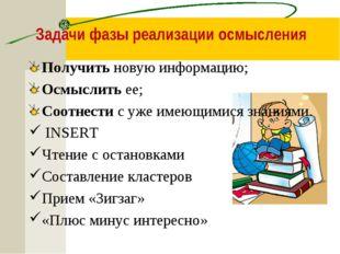 Задачи фазы реализации осмысления Получить новую информацию; Осмыслить ее; Со