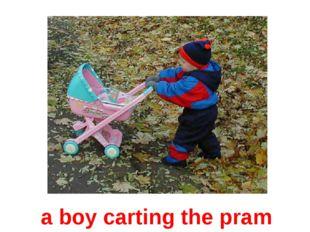 a boy carting the pram
