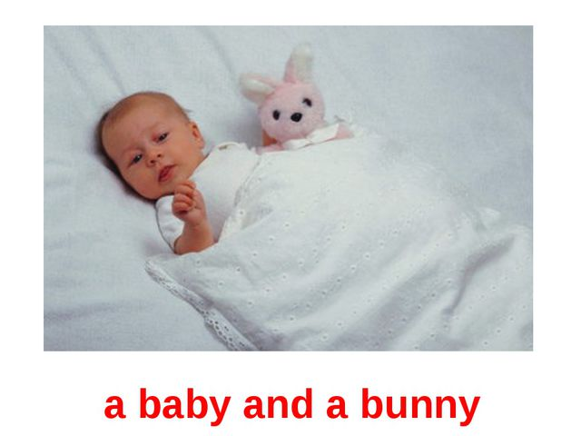 a baby and a bunny
