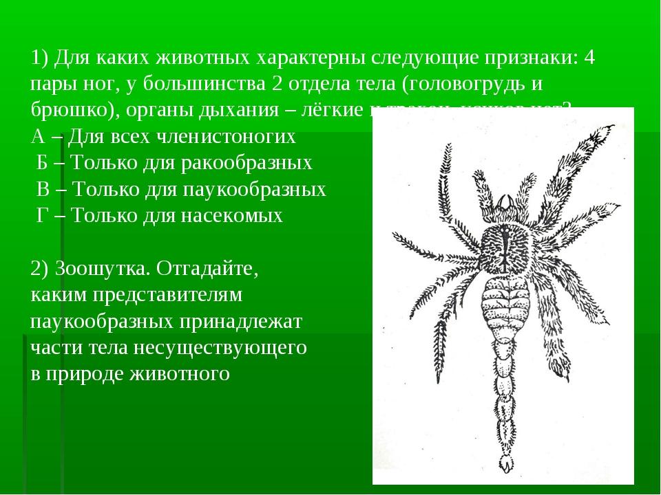 1) Для каких животных характерны следующие признаки: 4 пары ног, у большинст...