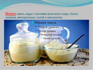 Молоко-смесь воды с каплями молочного жира, белка казеина, минеральных солей