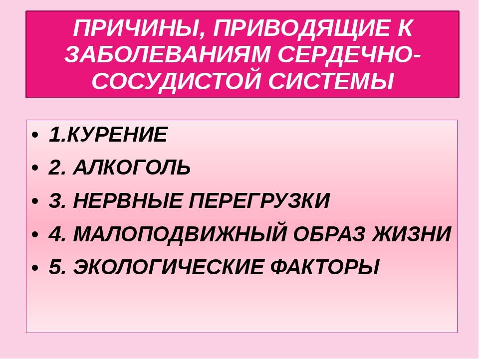 ПРИЧИНЫ, ПРИВОДЯЩИЕ К ЗАБОЛЕВАНИЯМ СЕРДЕЧНО-СОСУДИСТОЙ СИСТЕМЫ 1.КУРЕНИЕ 2. А...