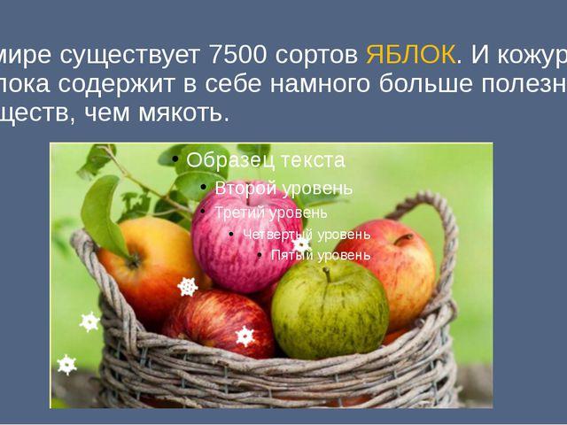 В мире существует 7500 сортов ЯБЛОК. И кожура яблока содержит в себе намного...