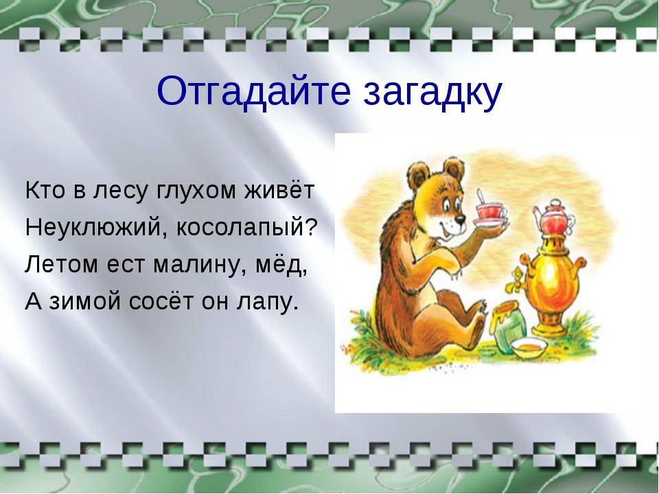Отгадайте загадку Кто в лесу глухом живёт Неуклюжий, косолапый? Летом ест мал...